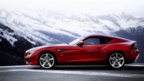 Side Pose Of BMW Zagato Coupe Concept In Red